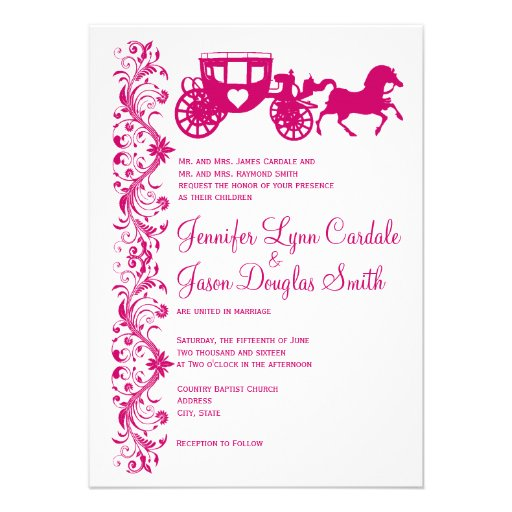 Horse and Carriage Hot Pink Wedding Invitations Personalized Invitation