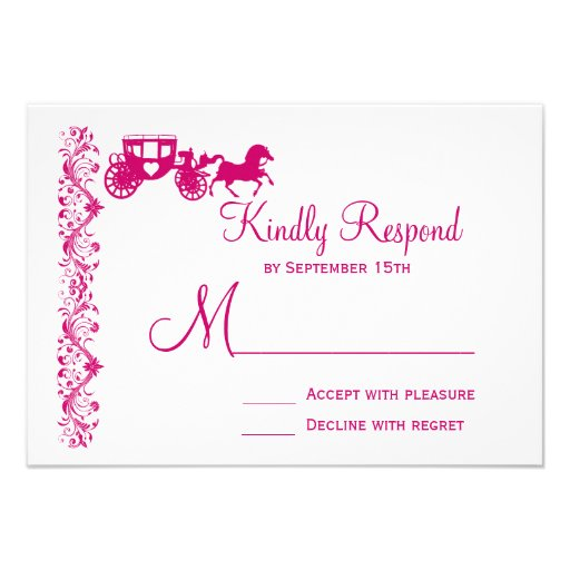 Horse and Carriage Hot Pink Wedding RSVP Cards