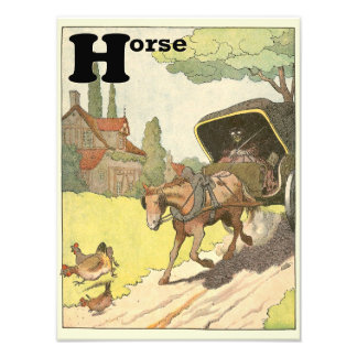 Horse and Carriage in the Countryside Alphabet Photo Print