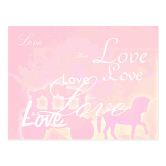 Horse and carriage romantic pink save the date postcard