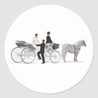 Horse And Carriage Wedding Arrival Round Sticker