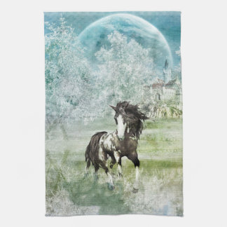 Horse and Castle Winter Scene Tea Towels