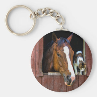 Horse and Cat Basic Round Button Key Ring
