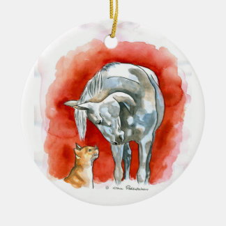 Horse and Cat Christmas Ornament