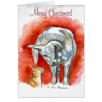 Horse and Cat Greeting Card