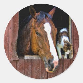 Horse and Cat Round Sticker