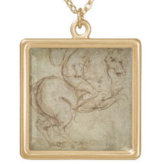 Horse and Cavalier (pen and ink on paper) Square Pendant Necklace