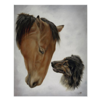 Horse and Dog Poster