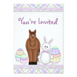 Horse and Easter Bunny Birthday Invitation ~ Girls