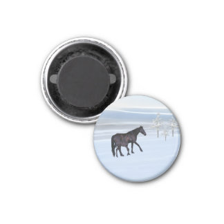 Horse and foal in snow 3 cm round magnet