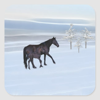 Horse and foal in snow sticker