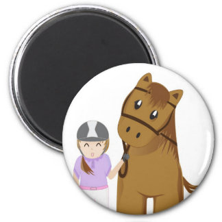 Horse and girl - Girl and horse Refrigerator Magnets