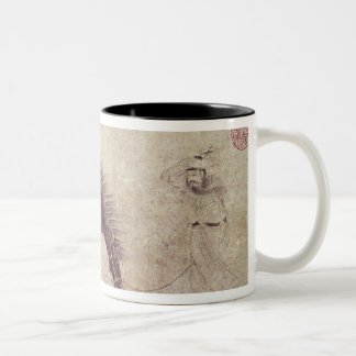 Horse and Groom in Winter Two-Tone Coffee Mug