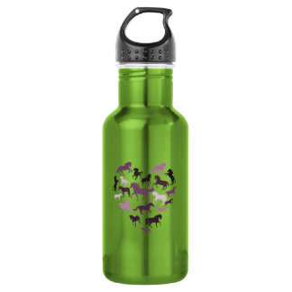 Horse and heart Aluminum 532 Ml Water Bottle