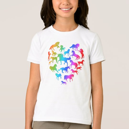 Horse and Heart T-shirt- Rainbow T-Shirt