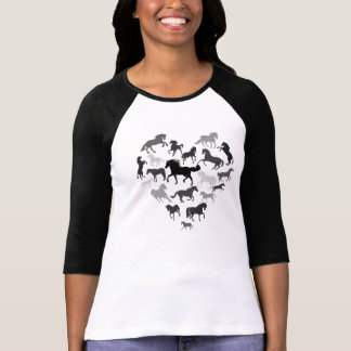 Horse and Heart Tshirt- Black/ brown Tee Shirts