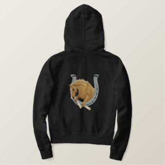 Horse and Horseshoe Embroidered Hoodie