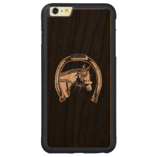 Horse and Horseshoe Scratch Art Carved Cherry iPhone 6 Plus Bumper Case