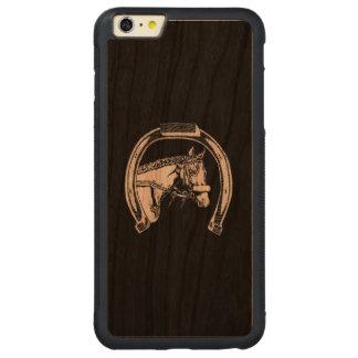 Horse and Horseshoe Scratch Art Carved Cherry iPhone 6 Plus Bumper Case