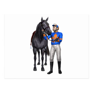 Horse and Jockey in Orange and Blue Postcard