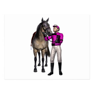 Horse and Jockey in Pink and Black Postcard