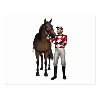 Horse and Jockey in Red and White Postcard