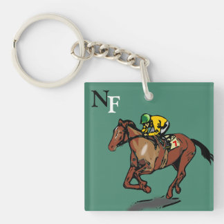 Horse and Jockey Key Ring