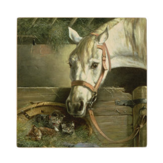 Horse and kittens, 1890 wood coaster