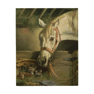 Horse and kittens, 1890 wood wall decor