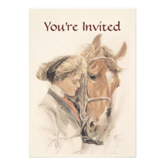 Horse and Lady Vintage Party Invitation