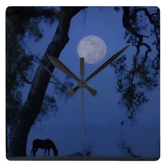 "Horse and Oak Tree ""Blue Moon"" Clock"