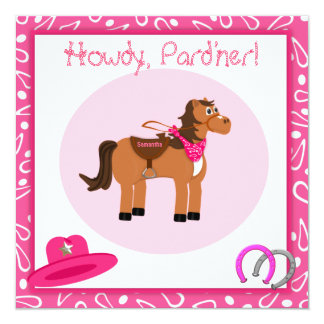 Horse and Pink Paisley Cowgirl Birthday Party 5.25x5.25 Square Paper Invitation Card