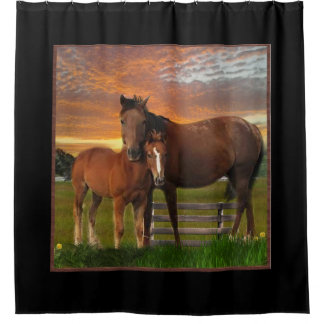 Horse and pony shower curtain