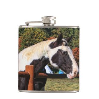 HORSE AND RAIL FENCE HIP FLASK