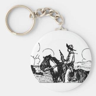 Horse and Rider, Gun Drawn, Wild West Desperado! Basic Round Button Keychain