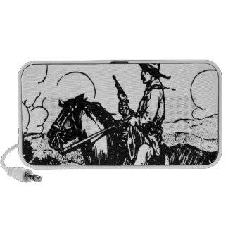 Horse and Rider, Gun Drawn, Wild West Desperado! iPod Speakers