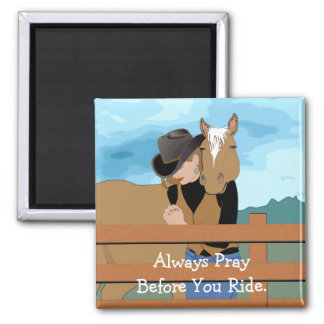 Horse and Rider Vector Art Prayer Magnet