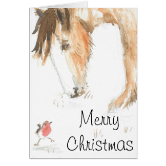 Horse and robin on Christmas morning Greeting Card
