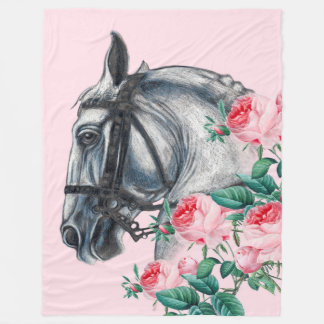 Horse And Roses Fleece Blanket