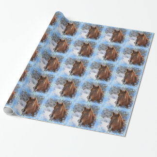 Horse and snowflakes wrapping paper