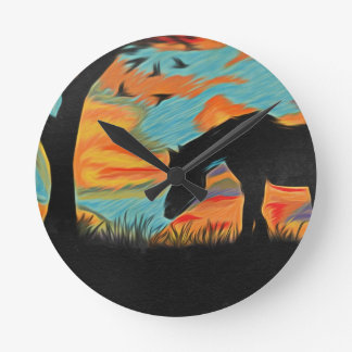 Horse and Tree Round Clock