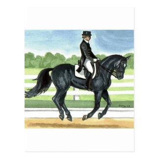 Horse Art BLACK dressage Canter Postcard