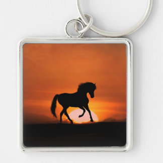 Horse Art Key Ring Silver-Colored Square Key Ring
