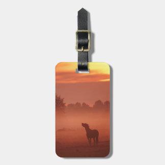 Horse at sunrise luggage tag