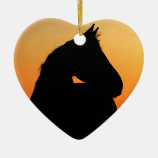 Horse at sunset ceramic heart decoration