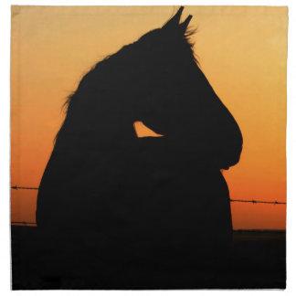Horse at sunset napkin