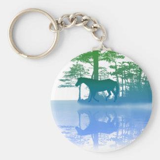 Horse At Twilight Basic Round Button Key Ring