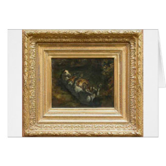 Horse Attacked by Lioness by Eugene Delacroix Greeting Card