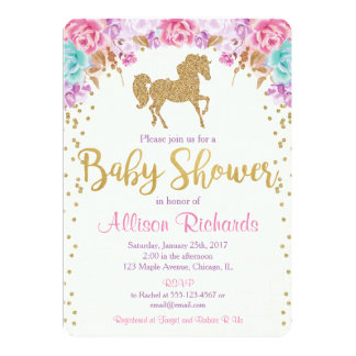 Horse baby shower invitation pink and gold