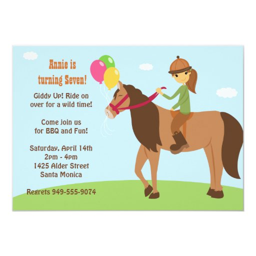 Horse Back Rider Birthday Party Invitation 13 Cm X 18 Cm Invitation Card